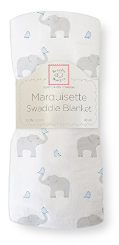 SwaddleDesigns Marquisette Swaddling Blanket, Premium Cotton Muslin, Elephant & Chickies, Pastel Blue from Swaddle Designs