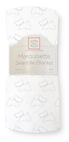 SwaddleDesigns Marquisette Swaddling Blanket, Premium Cotton Muslin, Little Doggie, Pastel Pink from Swaddle Designs