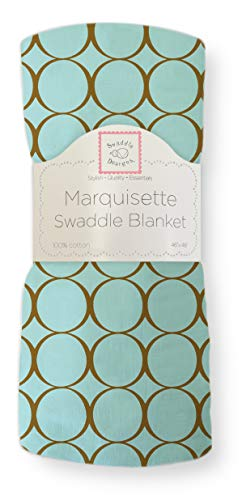 SwaddleDesigns Marquisette Swaddling Blanket, Premium Cotton Muslin, SeaCrystal with Mocha Mod Circles from Swaddle Designs