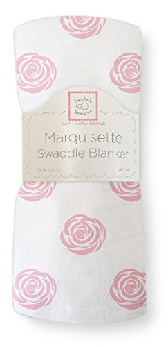 SwaddleDesigns Marquisette Swaddling Blanket, Premium Cotton Muslin, Pink Rose from Swaddle Designs