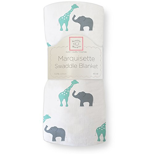 SwaddleDesigns Marquisette Swaddling Blanket, Premium Cotton Muslin, SeaCrystal Safari Fun from Swaddle Designs