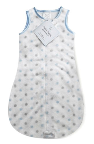 SwaddleDesigns Sleeping Sack with 2-Way Zipper, Cozy Pastel Blue Sterling Dots, 12-18MO from Swaddle Designs