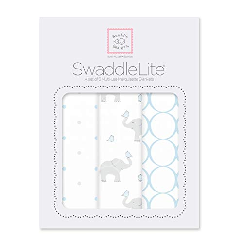 SwaddleDesigns Marquisette Swaddle Blankets, Premium Cotton Muslin, SwaddleLite Set of 3, Mod Elephants, Pastel Blue from Swaddle Designs