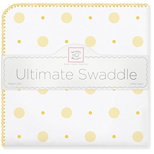 SwaddleDesigns Ultimate Swaddle Blanket, Premium Cotton Flannel, Big Dot Little Dot, Yellow from Swaddle Designs