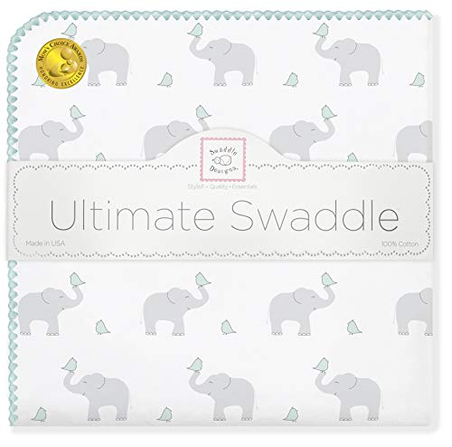 SwaddleDesigns Ultimate Swaddle Blanket, Premium Cotton Flannel, Elephant & Chickies, Sunwashed Aqua from Swaddle Designs