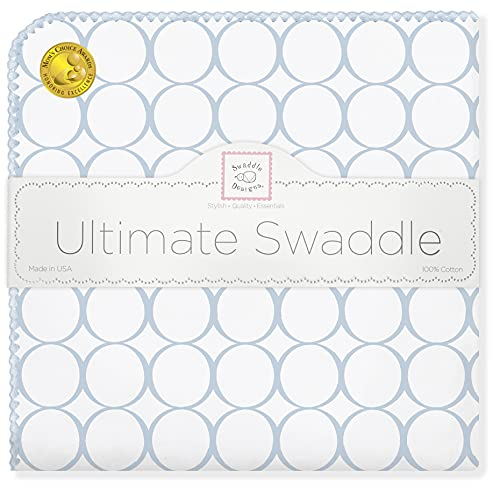 SwaddleDesigns Ultimate Swaddle Blanket, Premium Cotton Flannel, Pastel Blue Mod Circles from Swaddle Designs