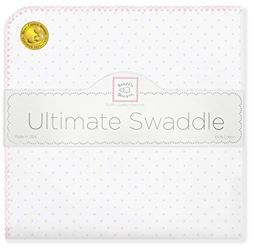 SwaddleDesigns Ultimate Swaddle Blanket, Premium Cotton Flannel, Classic Polka Dots, Pastel Pink from Swaddle Designs