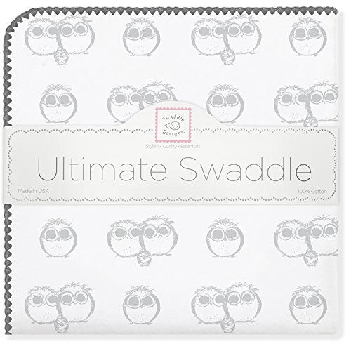 SwaddleDesigns Ultimate Swaddle Blanket, Premium Cotton Flannel, Sterling Owls from Swaddle Designs