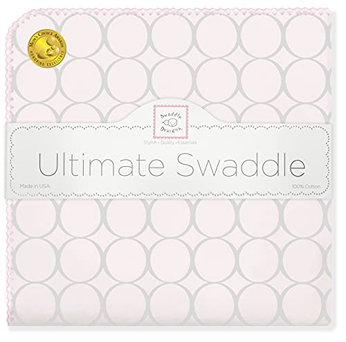 SwaddleDesigns Ultimate Swaddle Blanket, Premium Cotton Flannel, Sterling Mod Circles on Sunwashed Pink from Swaddle Designs
