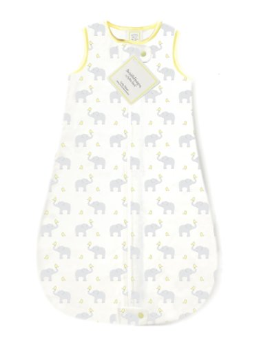 SwaddleDesigns Cotton Flannel Sleeping Sack with 2-Way Zipper, Elephant & Yellow Chickies, 3-6MO from Swaddle Designs