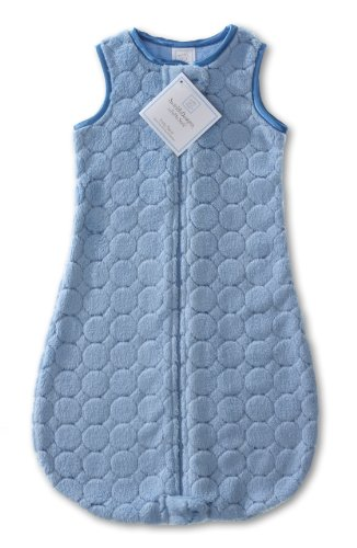 SwaddleDesigns Sleeping Sack with 2-Way Zipper, Cozy Puff Circles, Blue, 6-12MO from Swaddle Designs
