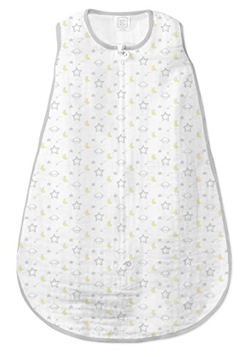 SwaddleDesigns Cotton Muslin Sleeping Sack with 2-Way Zipper, Goodnight Sterling, 6-12MO from Swaddle Designs