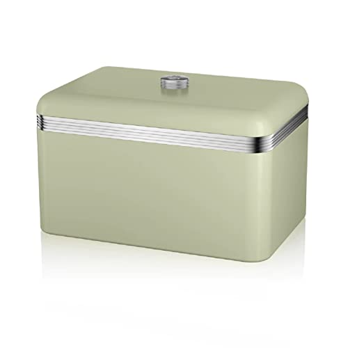 Swan Retro Bread Bin, Metal, Green, 18 Litre Storage Capacity from Swan