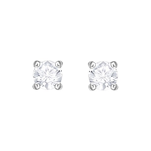 Attract Round Pierced Earrings, White, Rhodium Plated from Swarovski