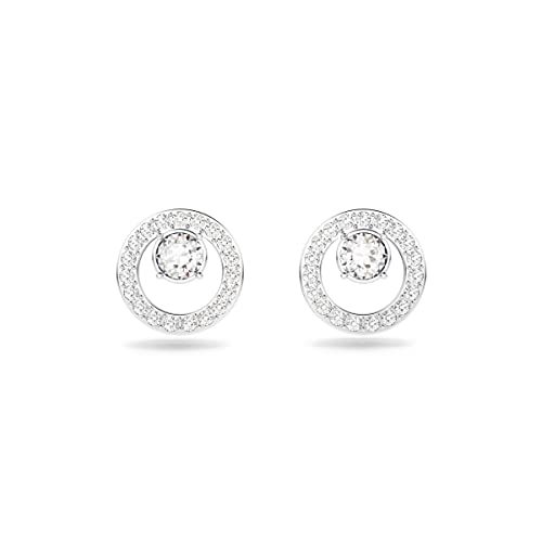 Creativity Circle Pierced Earrings, White, Rhodium Plated from Swarovski