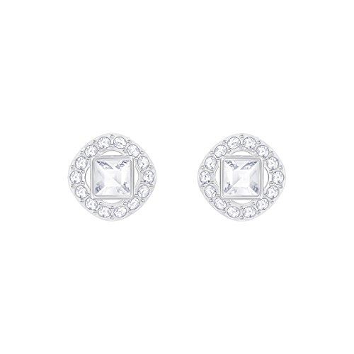 Angelic Square Pierced Earrings, White, Rhodium Plated from Swarovski