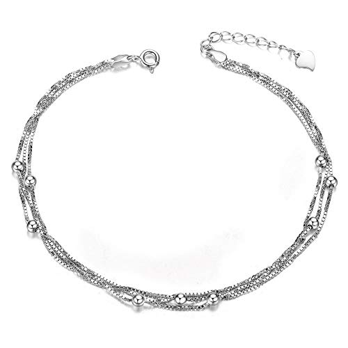 Sweetiee 925 Sterling Silver Anklets Triple Layered Chain with Tiny Beads Platinum 210mm for Woman from Sweetiee
