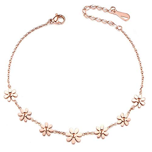 Sweetiee Stainless Steel Rose Gold Daisy Flowers Anklet 200mm for Woman Jewellery Gift from Sweetiee