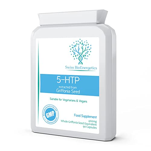 5-HTP Double Strength 200mg 90 Capsules - Natural Griffonia Seed Extract to support serotonin, melatonin production and hormonal balance - Herbal pills to promote healthy sleeping, mood and relaxation from Swiss BioEnergetics