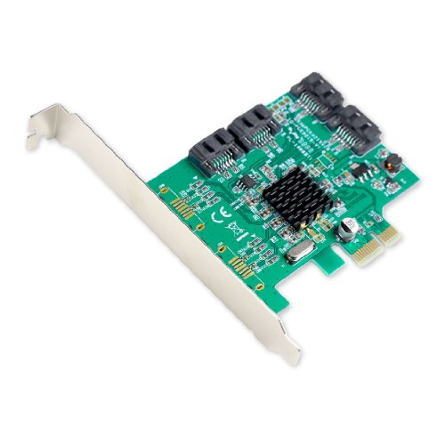 Syba SI-PEX40064 SATA III 4 Port PCI-e x1 Controller Card with Low Profile Brackets Green from Syba