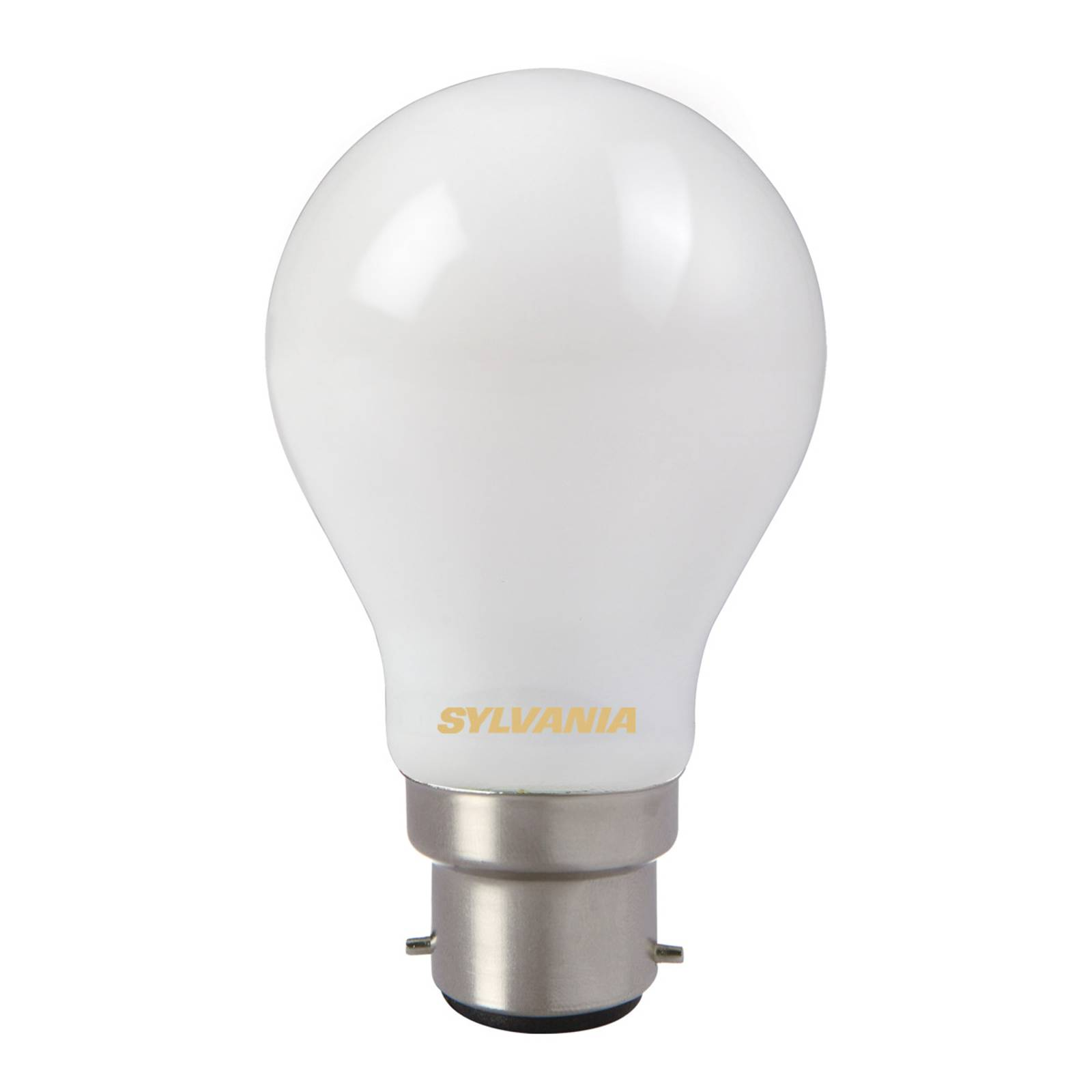 B22 7W 827 LED bulb, satin-finished from Stylvania