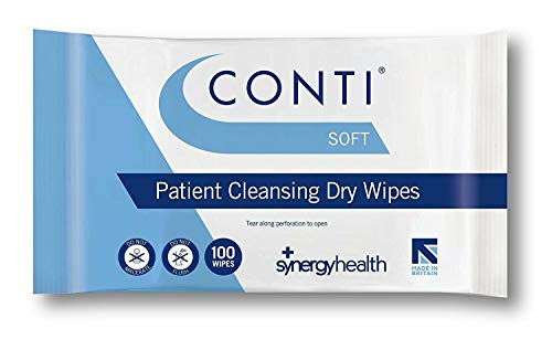 Synergy Health 10 Packs of 100 Conti Soft Large Dry Patient Cleansing Wipes from Synergy Health