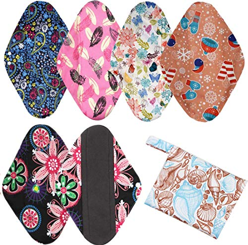 6PCS Cloth Menstrual Pads, Washable Bamboo Sanitary pad, Menstrual Pads Postpartum Nursing Pads (XL (3.5 * 14inch)) from T&J Fashion