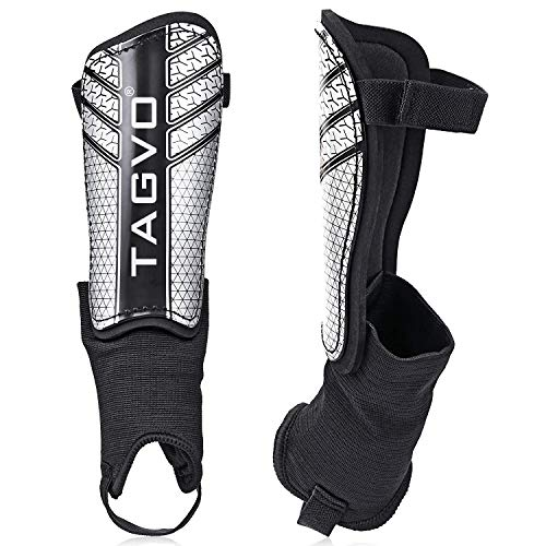 TAGVO Football Shin Guards, Kids Football Equipment with Ankle Sleeves Protection, Youth Sizes Child Football Shin Pads for Boys Girls from TAGVO