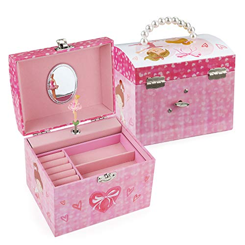 TAOPU Dome Shaped Musical Jewelry box with pearl handle and Music Box with Dancing Ballerina Girl Jewel Storage Case for girls from TAOPU