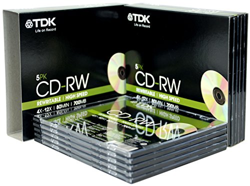 TDK T18791 4X-12X Speed 700MB 80min CD-RW - Slim Jewel Case 10 Pack from TDK