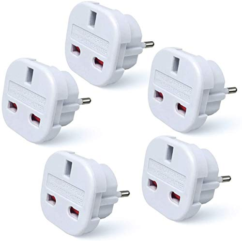 Travel Adapter - UK to EU Euro European adapter White Plug 2 Pin - Pack of 5 from TEC UK