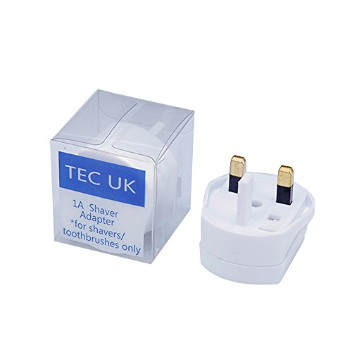 UK 2 Pin To 3 Pin 1A Fuse Adaptor Plug For Shaver / Toothbrush-BY TEC UK from TEC UK
