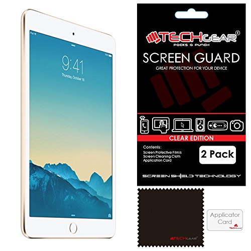 TECHGEAR [Pack of 2] Screen Protectors for iPad Mini 3 / Mini 2 / Mini - Clear Screen Protector Guard Covers Compatible with Apple iPad Mini 1st, 2nd & 3rd Generation - with Cloth & Application Card from TECHGEAR