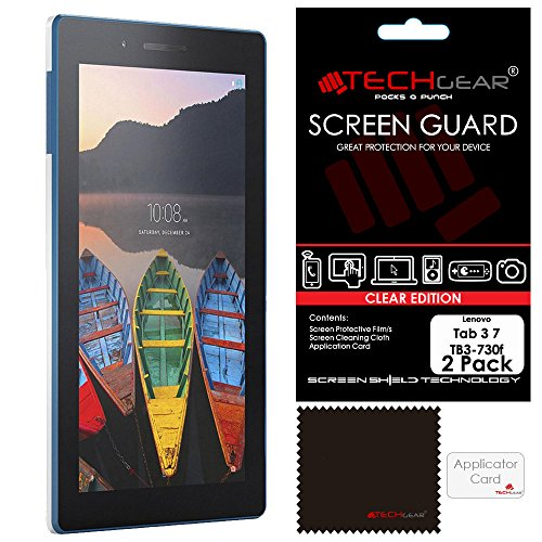 "TECHGEAR [Pack of 2] Screen Protectors for Lenovo Tab 3 7"" Tablet (TB3-730F) - Clear Lcd Screen Protector Guard Covers With Screen Cleaning Cloth & Application Card - Not for Tab 3 7"" Essential from TECHGEAR"