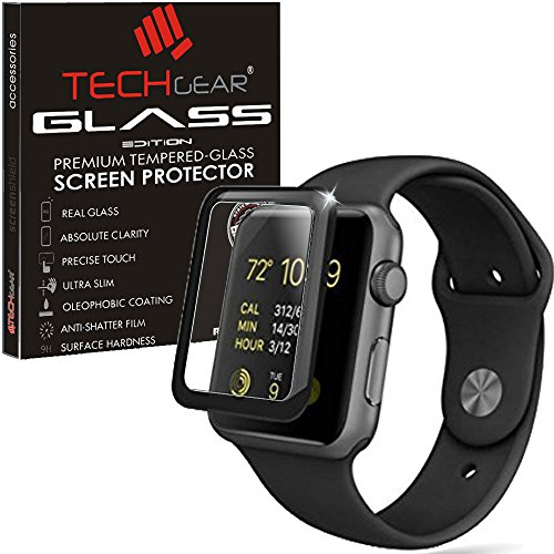 TECHGEAR Screen Protector fits Apple Watch Series 3 38mm - 3D GLASS Edition Full Coverage Tempered Glass Screen Protector Guard Cover Compatible 38mm Apple Watch, Watch Sport, Watch Edition [Series 3] from TECHGEAR