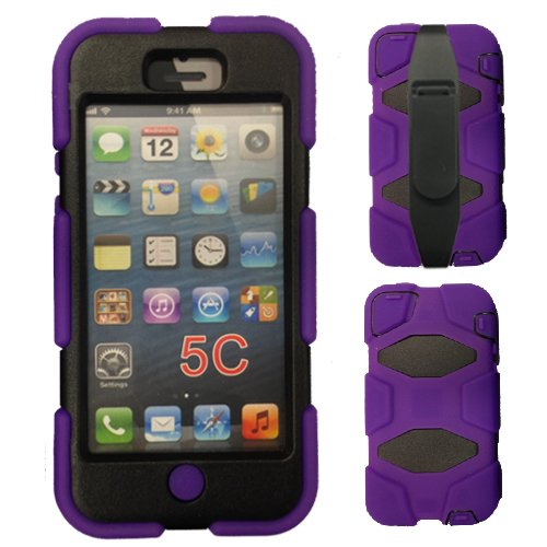 TECHGEAR iPhone 5c G-Shock Case, Tough Rugged Heavy Duty Survival Shock Case with built in Screen Protector and Multi-function Belt Clip/stand fits Apple iPhone 5c, Purple from TECHGEAR