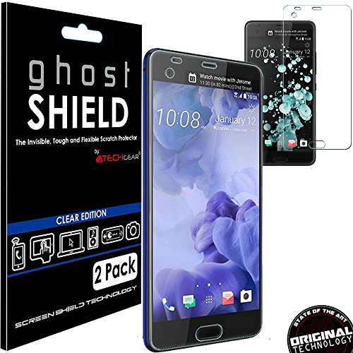 TECHGEAR [2 Pack] Screen Protectors to fit HTC U Ultra [ghostSHIELD Edition] Genuine Reinforced Flexible TPU Screen Protector Guard Covers with Full Screen Coverage inc Curved Screen from TECHGEAR