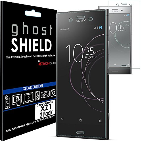 TECHGEAR [2 Pack] Screen Protectors to fit Sony Xperia XZ1 [ghostSHIELD Edition] Genuine Reinforced Flexible TPU Screen Protector Guard Covers with Full Screen Coverage inc Curved Screen from TECHGEAR