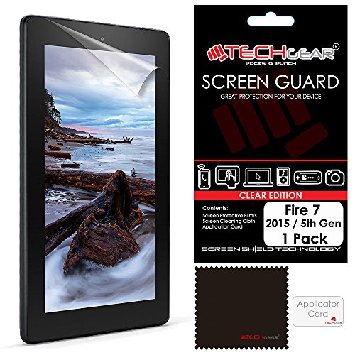 "TECHGEAR Screen Protector for Amazon Fire 7"" & Fire Kids Edition 7"" (5th Generation / 2015) - Clear Lcd Screen Protector With Cleaning Cloth + Application Card (Not for 7th Gen 2017) from TECHGEAR"