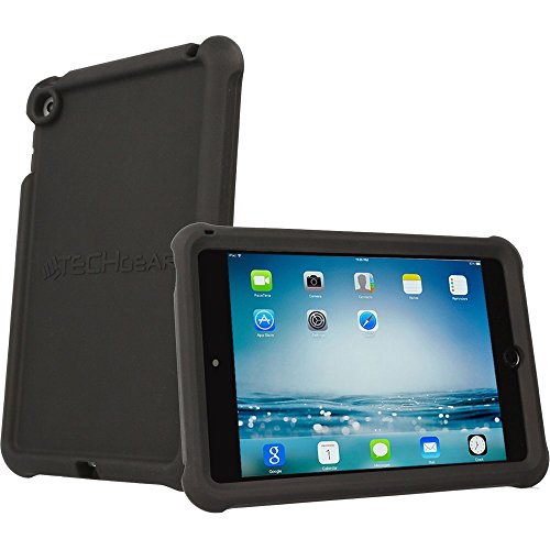 TECHGEAR Bumper Case fits Apple iPad Mini 5 2019, iPad Mini 4, Rugged Light Weight Shockproof Soft Silicone Protective Easy Grip Case + Screen Protector [Black] - Kids & School Friendly Case from TECHGEAR