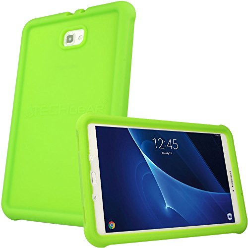 "TECHGEAR Bumper Case fits Samsung Galaxy Tab A 10.1"" 2016/2018 (SM-T580 Series) Rugged Shockproof Soft Silicone Protective Easy Grip Case + Screen Film [Green] - Kids & School Friendly Case from TECHGEAR"