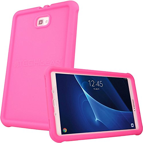 "TECHGEAR Bumper Case fits Samsung Galaxy Tab A 10.1"" 2016/2018 (SM-T580 Series) Rugged Shockproof Soft Silicone Protective Easy Grip Case + Screen Film [Pink] - Kids & School Friendly Case from TECHGEAR"