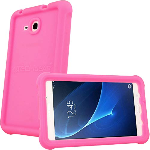"TECHGEAR Bumper Case fits Samsung Galaxy Tab A 7.0"" (SM-T280 Series) Rugged Heavy Duty Anti-Shock Rubber Edge Protective Easy Grip Case + Screen Film [Pink] - Kids & School Friendly Case from TECHGEAR"