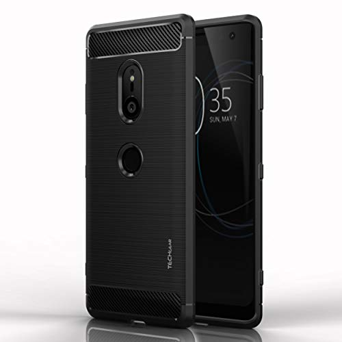 TECHGEAR Xperia XZ3 Case - [CarbonFlex Case] Premium Flexible Shockproof Slim Fit Case Cover with Carbon Fibre Design Compatible with Sony Xperia XZ3 from TECHGEAR