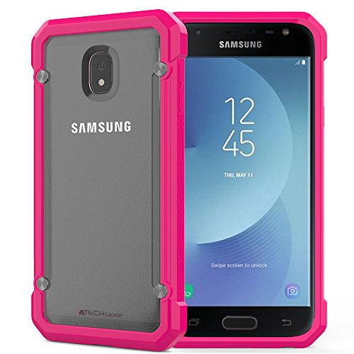 TECHGEAR [Fusion Armour Case for Galaxy J3 2017 Premium Slim Hybrid Protective Bumper Case Cover Compatible with Samsung Galaxy J3 2017 (SM-J330 Series) (Frost/Pink) from TECHGEAR