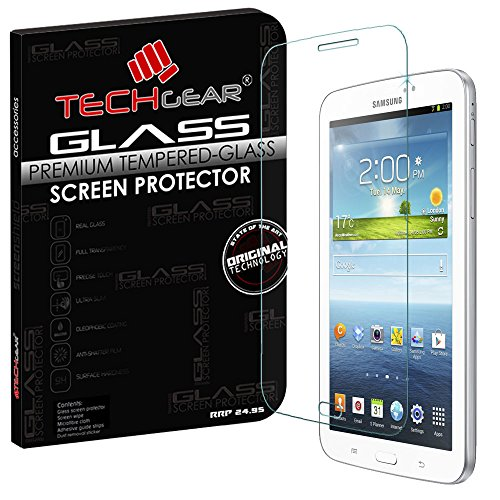 TECHGEAR Screen Protector for Galaxy Tab 3 7.0 Inch (SM-T210 / P3200 Series) - GLASS Edition Genuine Tempered Glass Screen Protector Guard Cover Compatible with Samsung Galaxy Tab 3 7.0 Inch from TECHGEAR