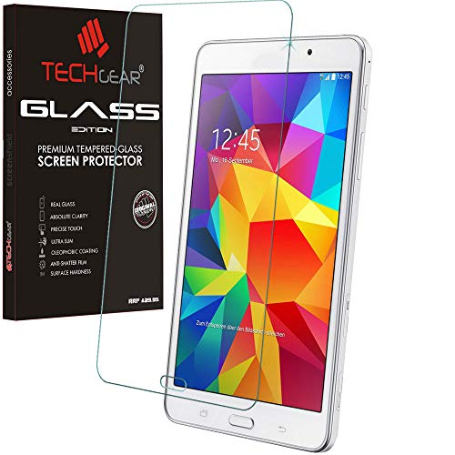 TECHGEAR Screen Protector for Galaxy Tab 4 7.0 Inch - GLASS Edition Genuine Tempered Glass Screen Protector Guard Cover Compatible with Samsung Galaxy Tab 4 7.0 (Model: SM-T230) from TECHGEAR