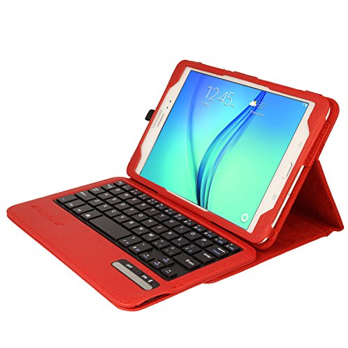 TECHGEAR STRIKE FOLIO Case fits Samsung Galaxy Tab A 7.0 Inch (SM-T280 Series) - PU Leather Case with Built in Detachable Bluetooth Wireless UK QWERTY Keyboard and Stand (Red) from TECHGEAR