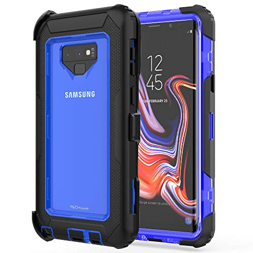 TECHGEAR Contender Case fits Samsung Galaxy Note 9, Heavy Duty Shockproof [Tough Armour] Case with included Screen Protector, 360 [Full Body] Protective Cover with Kick Stand and Holster Black/Blue from TECHGEAR