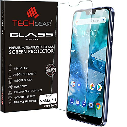 TECHGEAR GLASS Edition fits Nokia 7.1 Genuine Tempered Glass Screen Protector Guard Cover Compatible with Nokia 7.1 from TECHGEAR